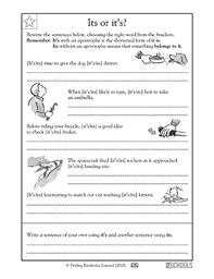 3rd grade 4th grade writing worksheets its or it u0027s greatschools