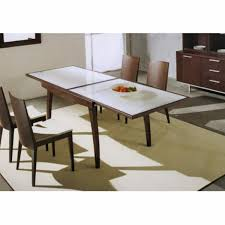 interior good extendable frosted glass table with four straight