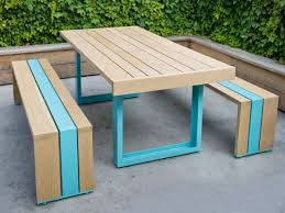 Park Bench And Table Picnic Table And Bench With A Pop Of Color Modern Yard