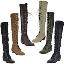 s boots lace s lace up block heel side zip the knee high combat