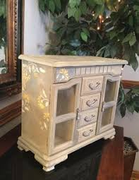 Shabby Chic Jewelry Armoire by Wooden Vintage Jewelry Box Painted Ooak Designer Jewelry Box