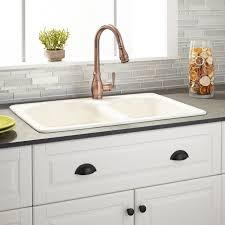 Cayton  Offset DoubleBowl Cast Iron DropIn Kitchen Sink - Drop in kitchen sinks