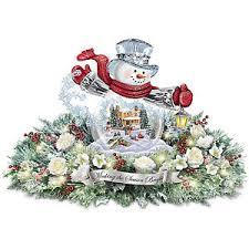 thomas kinkade lighted pictures thomas kinkade lighted floral holiday snowman centerpiece ebay
