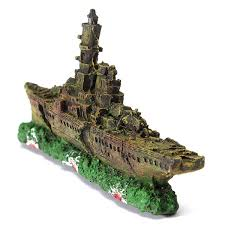 aquarium decoration destroyer navy war ship boat wreck ornament