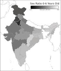 ratio for children 0 to 6 years in age in indian states and