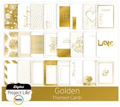 digital project golden themed scrapbook cards