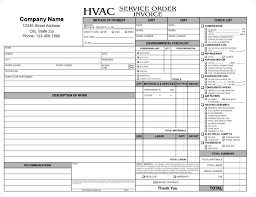 hvac service report template and 11 hvac invoice template free top