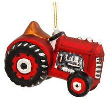 red tractor formed glass ornament occupations christmas