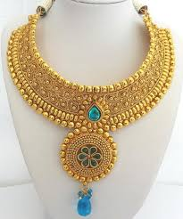 big gold necklace set images Bn37 big gold and sparkly blue polki necklace set tropicalmiss jpg