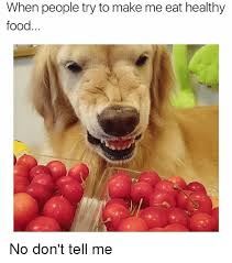 Healthy Food Meme - when people try to make me eat healthy food no don t tell me