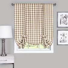 achim buffalo check taupe polyester and cotton window curtain tie