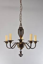 Art Deco Ceiling Fixtures Vintage Art Deco 5 Arm Chandelier Light Fixture In Bronze Tone