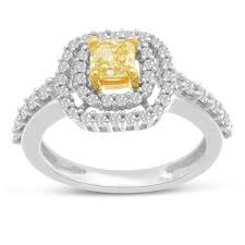 canary yellow engagement rings 1ct cushion cut canary yellow halo engagement ring