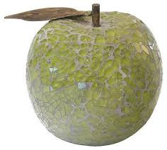 beautiful green mosaic crackle glass apple with leaf fruit