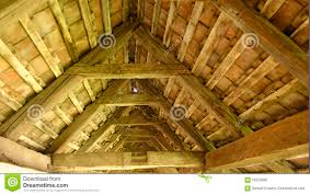 vaulted wood ceiling of fortified church romania stock photo
