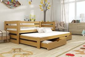 double bed wooden double bed kubus with trundle and storage arthauss furniture