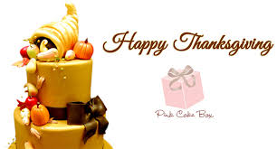 happy thanksgiving pink cake box