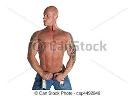 fit male model with tattoos fit male model on white stock