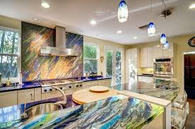 funky kitchen designs french door design with fabulous colorful onyx countertop using