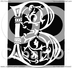 monogram letter b clipart of a vintage black and white monogram letter b royalty