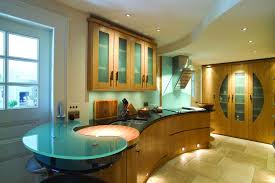 modern countertops unusual material kitchen stone glass lighting