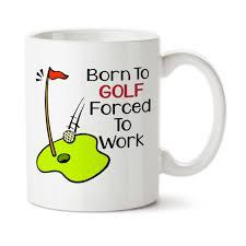 mug design for him born to golf forced to work coffee mug water bottle travel mug