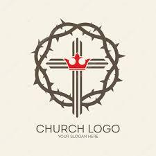 church logo crown of thorns cross crown gray icon