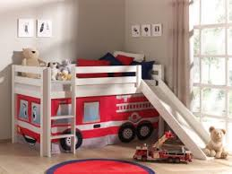 chambre enfant toboggan lit mezzanine enfant avec toboggan en pin massif blanc laqué