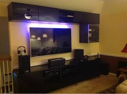 home accessories cool gaming setup ideas with tv built in wall