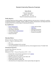 Example Resume Profile Statement Internship Internship Objective For Resume
