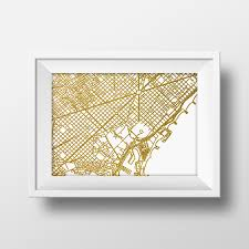 Downtown Portland Map Printable by Gold Glitter Barcelona Map Printable Map Wall Art Barcelona