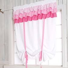 White Tie Curtains Shabby Chic White Ruffled Tie Up Shade