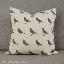 Woodland Home Decor Grey U0026 Beige Graphic Bird Decorative Pillow Cushion Cover For