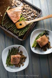 one pan salmon with asparagus mushrooms and balsamic brown