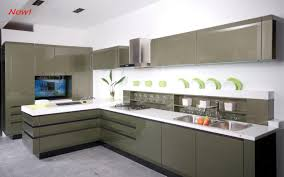 Free Standing Kitchen Cabinet L Shaped Grey Glossy Kitchen Cabinet With White Countertop On Grey