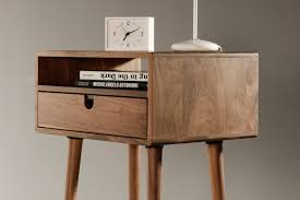 furniture mid century nightstand with standing lamp and small