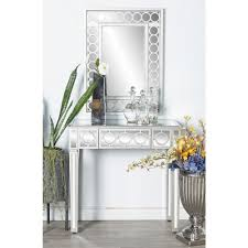 Wall Console Table White Wall Mirror And Console Table Set 58753 The Home Depot