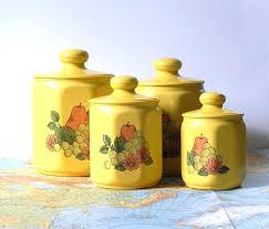 oggi kitchen canisters oggi kitchen canisters vintage yellow kitchen canister set of four