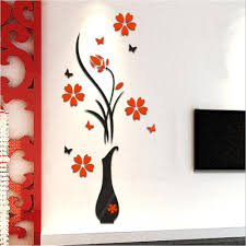 3d flower vase diy mirror wall decals stickers art home room tv 3d flower vase diy mirror wall decals stickers art home room tv decor 60cm 140cm in wallpapers from home improvement on aliexpress com alibaba group