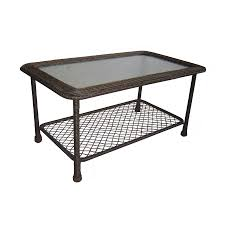 Wicker Patio Coffee Table Shop Garden Treasures Severson 23 25 In W X 41 5 In L Brown Wicker