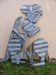 Sheet Metal Garden Art - aussie recycled corrugated iron yard displays corrugated metal