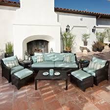 Patio Furniture Conversation Set - shop rst brands deco bliss blue 8 piece wicker patio conversation