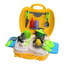 kit de cuisine enfant 26 pcs en plastique cuisine cuisine jouet pour filles portable