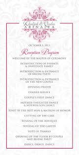 wedding reception programs wedding program ideas reception unique wedding ideas