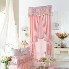Childrens Room Curtains Pink Polyester Plaid Curtain For Room