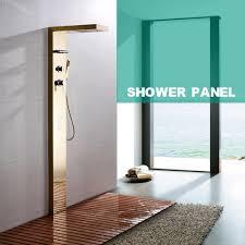 gold wall mounted shower panel set rainfall waterfall body massage