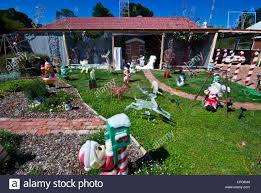 christmas decorations in the front yard of a gold mining town