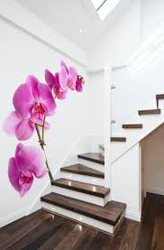 create wonderful interior design only with 3 alluring wall murals enchanting orchid mural wallpaper beside hardwood stairs indoor also lighting on stairs plus hardwood flooring