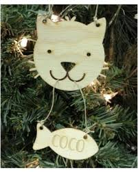 great deals on unfinished wood co personalized cat ornament