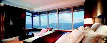 Bedroom Wall Of Windows Club Grand Victoria Harbour Room The Ritz Carlton Hong Kong